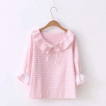 เสื้อผ้าฝ้ายลายตารางสีชมพู ดีไซน์รับหน้าร้อนค่ะ code : a0031