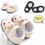 รองเท้าเด็กอ่อน รองเท้าเด็กหัดเดิน สีครีม ปักหัวใจ ประดับโบ - Cream ribbon 101
