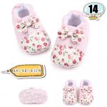 รองเท้าเด็กอ่อน ลายดอกไม้ ประดับโบ - Pink floral