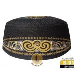 CHAREEF B-016 หมวกกะปิเยาะห์ สีดำลายทอง