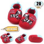 รองเท้าเด็กอ่อน ลายม้าลาย สีแดง - Red zebra