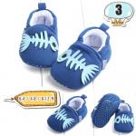 รองเท้าเด็กอ่อน ลายก้างปลา สีน้ำเงิน - Blue fishbone
