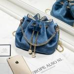 พร้อมส่ง กระเป๋าสะพายสีน้ำเงิน ดีไซน์สวยน่ารัก สไตล์ชิคๆ