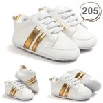 รองเท้าเด็กอ่อน รองเท้าเด็กหัดเดิน สีขาว คาดแถบสีทอง - White & Gold 205