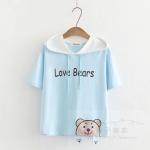 พร้อมส่ง เสื้อยืดแขนสั้นมีฮู๊ดลายน้องหมีน่ารักๆ แบบสวยค่ะ code : a0036