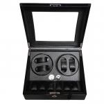 กล่องหมุนนาฬิกา AUTOMATIC WATCH WINDER BLACK Fiber กล่องใส่นาฬิกา 4 x 6 เรือน