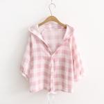 เสื้อสีชมพูลายตารางมีฮู้ดผ้าเบาใส่สบาย