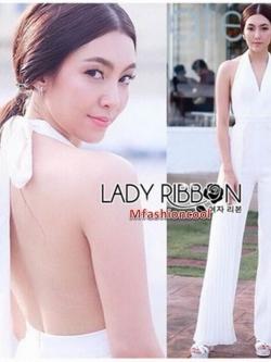 จัมป์สูทสีขาวทรงผูกคอตกแต่งผ้าพลีต หมวดหมู่ เสื้อผ้าแฟชั่น Lady Ribbon ขายส่ง 1