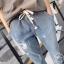 กางเกงยีนส์ขายาวสีน้ำเงิน แต่งลายแมวน่ารักค่ะ thumbnail 3