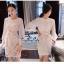 Luxurious Classic Chiffon Long Sleeves Lace Dress เดรสผ้าลูกไม้ทั้งตัวสไตล์งานแบรนด์ค่ะ สวยหรูมากค่ะ