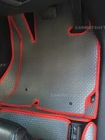ยางปูพื้นรถยนต์ MAZDA CX-5 รุ่น MINI MAT กระดุมเม็ดเล็กสีเทาขอบแดง เต็มคัน