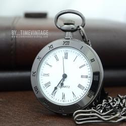 นาฬิกาพกพาแบบหน้าเปลื่อยสีดำด่างระบบถ่านควอทซ์ ด้านหลังพื้นเรียบเงา (พร้อมส่ง)