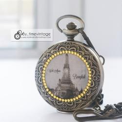 ของที่ระลึกพรีเมี่ยมแบบไทยๆ นาฬิกาลายไทยประดับคริสตัลลายวัดอรุณ ระบบเครื่องญี่ปุ่น (งานสั่งทำ)