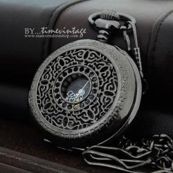 นาฬิกาแบบพกระบบไขลาน สีดำไขลาน ดีไซด์ กิ่งลูกไม้เถาวัลย์
