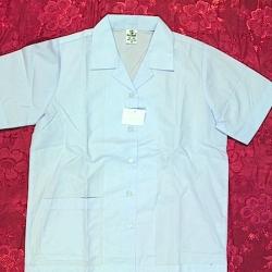 เสื้อนักเรียนหญิงคอฮาวายผ่าตลอด กระเป๋าล่าง ตราสมอ (รร.วัฒนาวิทยาลัย)