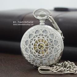 นาฬิกาพกระบบกลไกไขลานฝาฉลุสีดำเงา คอลเลคชั่น Circle of Love