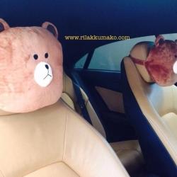 หมอนรองคอในรถ ลาย หมีบราวน์