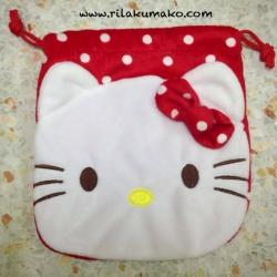 ถุงผ้าหูรูด Hello Kitty คิตตี้ สีแดง