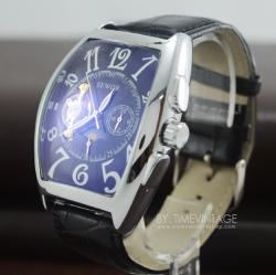 นาฬิกาข้อมือหน้าปัดสี่เหลี่ยม ระบบออโตเมติกและฟังชั่น MoonPhase สายหนังสีดำ(พร้อมส่ง) สำเนา
