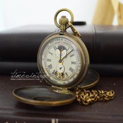 """นาฬิกาพกไขลานสไตล์วินเทจดีไซด์ """"Antique Double Cover Tourbillon MoonPhase"""""""