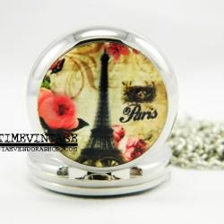 **พร้อมส่ง**นาฬิกาพกแบบสร้อยคล้องคอ Eiffel Tower-C