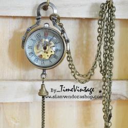 นาฬิกาพกไขลาน หน้าปัดกลไก ดีไซด์ ทรงกลมเลขโรมัน ทองแดงแท้ 100%
