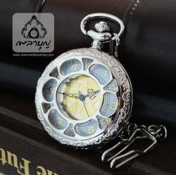 นาฬิกาถวายพระภิกษุสงฆ์ ฝาฉลุลายดอกบัวเรือนสีเงินเงา (พร้อมส่ง)