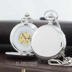 นาฬิกาพกล็อคเก็ตระบบ ไขลาน หน้าปัดกลไก ฝาเรียบสีเงิน Silver