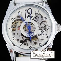 นาฬิกาข้อมือกลไก สีขาว หน้าปัดพื้นฉลุเห็นเครื่องนาฬิกา (พร้อมส่ง)