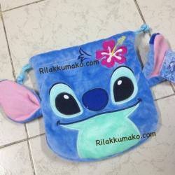 ถุงผ้าหูรูด ลาย สติช Stitch ขนาดกระเป๋า8x7นิ้ว