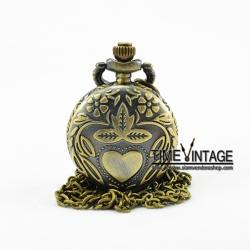 ***พร้อมส่ง***นาฬิกาสร้อยคอเรือนเล็กลาย Garden of Love สีทองเหลือง