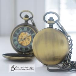 นาฬิกาพกพรีเมี่ยม ตัวเรือนสีทองเหลืองพื้นเรียบ ระบบไขลานออโตเมติก