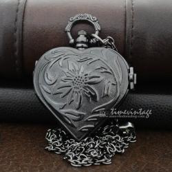 นาฬิกาสร้อยคอทรงหัวใจลายฉลุสีดำ Mystery Love 2 (พร้อมส่ง)