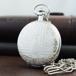 นาฬิกาพกฝาทึบสไตล์ยุโรป Lace Design ระบบถ่านควอทซ์ (พร้อมส่ง)