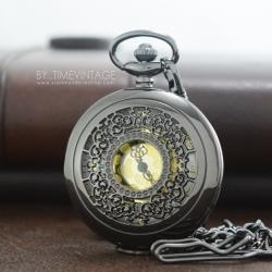 นาฬิกาพกฉลุลายลูกไม้วินเทจ Pewter Floret หน้าปัดทอง ไซด์ L