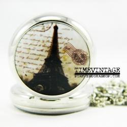 **พร้อมส่ง**นาฬิกาพกแบบสร้อยคล้องคอ Eiffel Tower-H