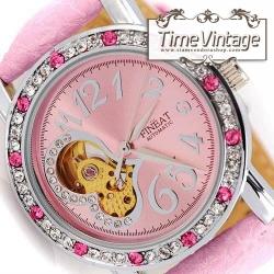 """นาฬิกาข้อมือ หน้าปัดกลไก """"Elegant Pink Diamonds Watch"""" (สั่งทำ)"""