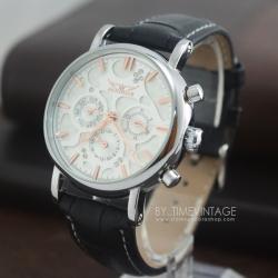 นาฬิกาข้อมือกลไกหน้าปัทม์ลายหยดน้ำอักษรทองตัวเรือนสีเงินเงาโชว์เครื่องนาฬิกาด้านหลัง (พร้อมส่ง)