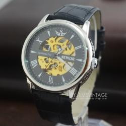 นาฬิกาข้อมือกลไกชายหน้าปัทม์ดำขอบเงินสายสีดำerkek kol saatleri โชว์เครื่องนาฬิกาด้านหลัง (พร้อมส่ง)