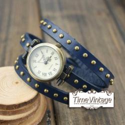 นาฬิกาหนัง พันข้อมือ 3 รอบ-น้ำเงิน (ฟรีค่าจัดส่ง EMS)