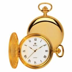 **พรีออร์เดอร์**นาฬิกาพกควอทซ์สีทองฝาเรียบหน้า-หลัง แบรนด์ Royal London