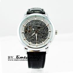 นาฬิกาข้อมือโครงสแตนเลสสีเงินหน้าปัดลายฉลุเถาวัลย์ (สั่งทำ)