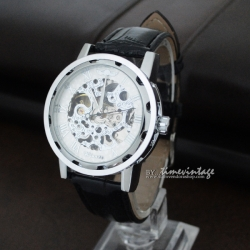 นาฬิกาข้อมือกลไกไขลาน โครงสแตนเลสสตีล ดีไซด์ Metal Art #2 (พร้อมส่ง)