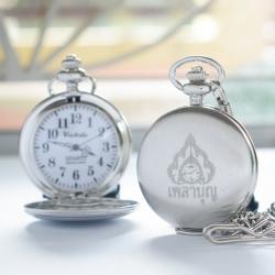 นาฬิกาสำหรับพระภิกษุสีเงินขัดระบบถ่านควอทซ์ เพลาบุญ