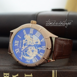 นาฬิกาข้อมือกลไกหน้าปัดน้ำตาลเข้ม ขอบทอง สายน้ำตาล Skeleton Transparent (พร้อมส่ง)
