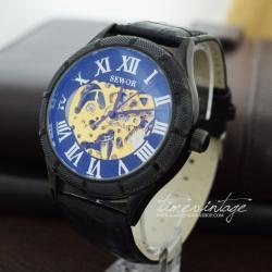 นาฬิกาข้อมือกลไกหน้าปัดดำ ขอบดำ สายดำ Skeleton Transparent (พร้อมส่ง)