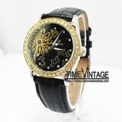 นาฬิกาข้อมือกลไกสีดำลาย Black Royal Betterfly (พร้อมส่ง)