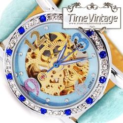 """**พร้อมส่ง**นาฬิกาข้อมือกลไกสีฟ้า """"Sky Blue Elegant Diamonds Watch"""" (ส่งฟรี EMS)"""