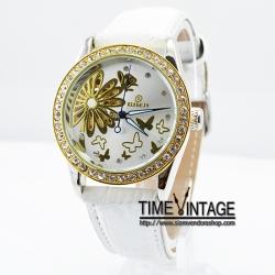"""""""สั่งทำ"""" นาฬิกาข้อมือ หน้าปัดกลไก สายหนังสีขาว """"White Beauty Carve"""""""