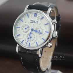 นาฬิกาข้อมือกลไกหน้าปัทม์ลายหยดน้ำอักษรน้ำเงินตัวเรือนสีเงินเงาโชว์เครื่องนาฬิกาด้านหลัง (พร้อมส่ง)